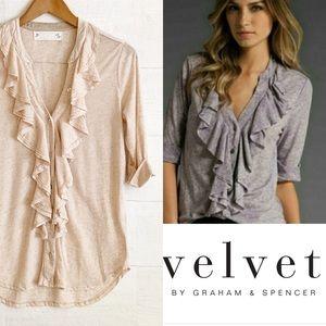 Velvet by Graham Spencer Ruffle Front Top sz L